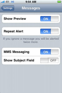 Messages Setting
