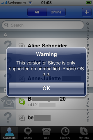 Latest Skype iPhone App Update Issues Jailbreak Warning