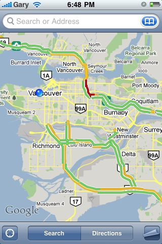 iPhone Live Traffic in Google Maps Now Works in Canada ... on ebay canada, google map micronesia, google mapquest, google map of vancouver, google map request, alberta canada, google map of grenada, cia world factbook canada, google map of seattle area, map of us and canada, world atlas canada, google map of british columbia, blank map of canada, mapquest canada, google map of wv, area code lookup canada, google map of north korea, map in canada, colored political map of canada, google earth,