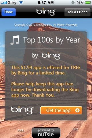 iphone app top 100 songs by year