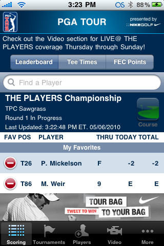 PGA Tour iPhone App