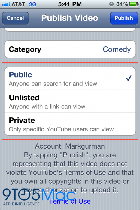 Mark YouTube Videos Private and/or Unlisted in iOS 4 2