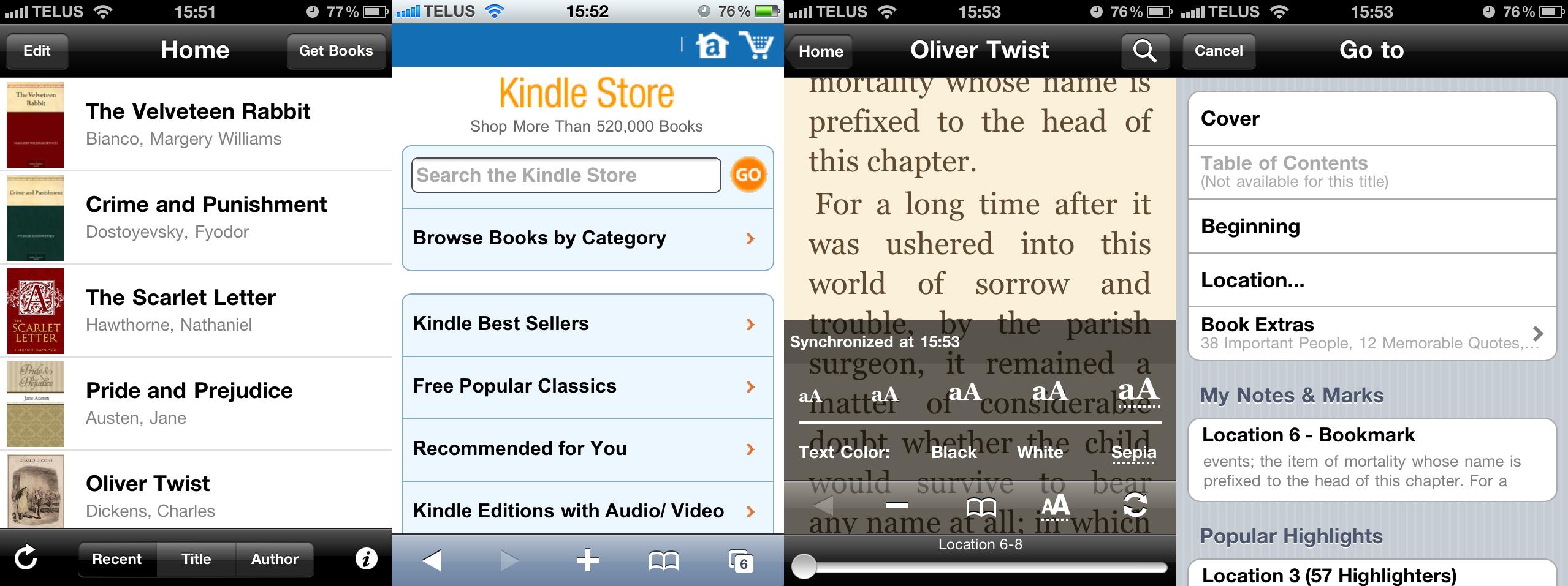 Kindle vs  Kobo eReader App Review   iPhone in Canada Blog