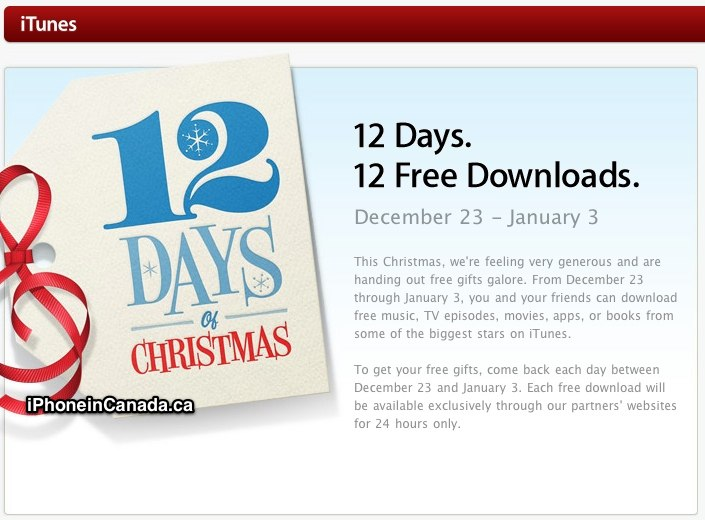 12 days christmas gifts itunes help
