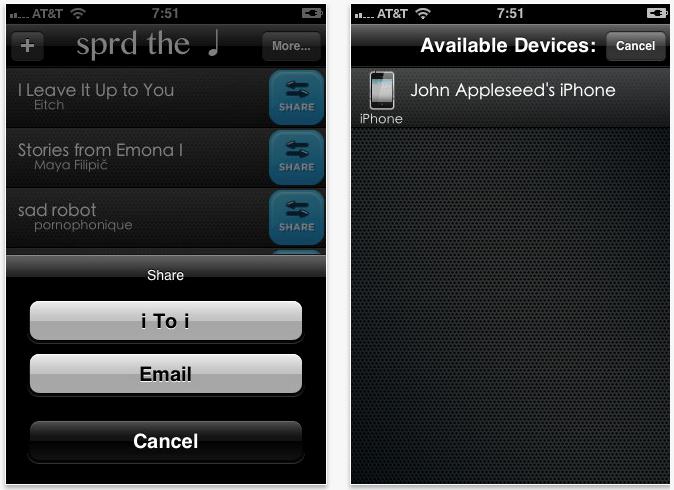 Send Music Between iPhones Over Wifi - Sprd The Note [Download