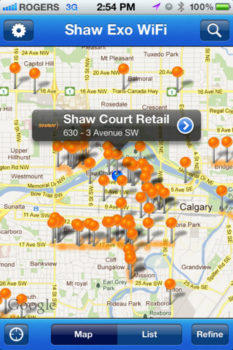 Shaw Exo WiFi Finder iOS App Helps Customers Find Free
