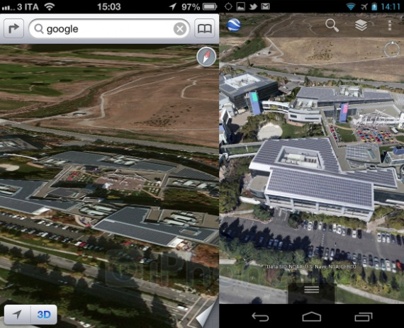 3D Maps Comparison: Apple Maps in iOS 6 vs Google Maps in