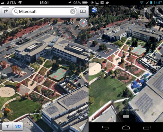 3D Maps Comparison: Apple Maps in iOS 6 vs Google Maps in ... Google Maps D View Android on google earth live satellite view, google maps helicopter view, google earth street view usa, google maps aerial satellite view,