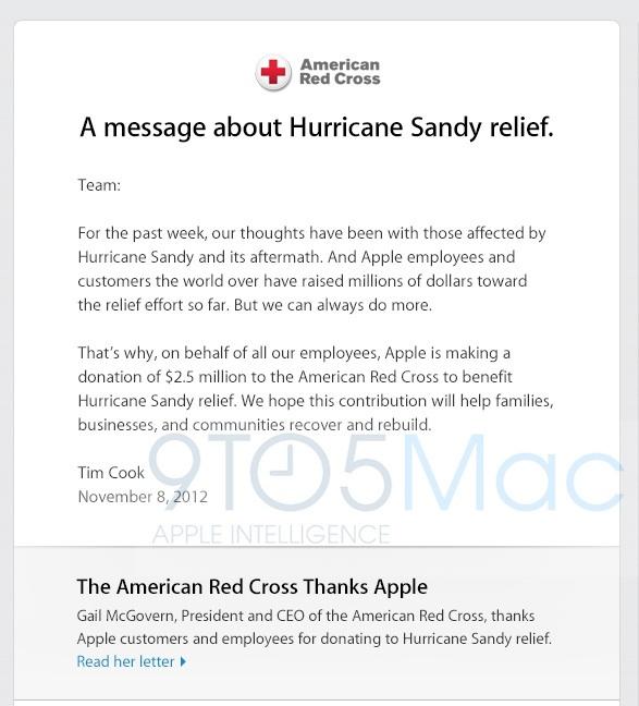 Apple hurricane sandy donation