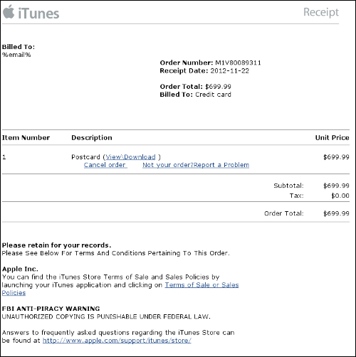 Sophos Report Fake Apple Invoice Leaves You Vulnerable To Malware - Apple iphone invoice