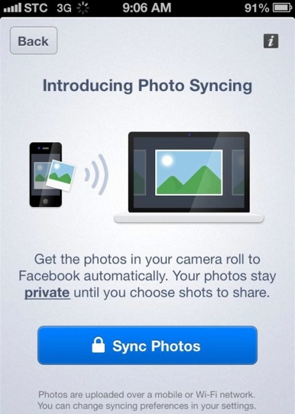 Facebook ios photo sync screenshot techcrunch