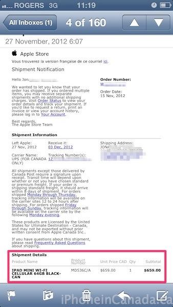 ipad mini lte shipping