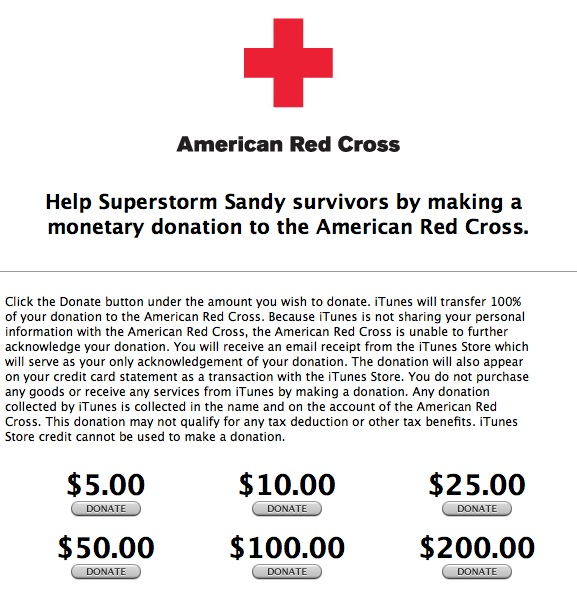 Superstorm sandy itunes donations