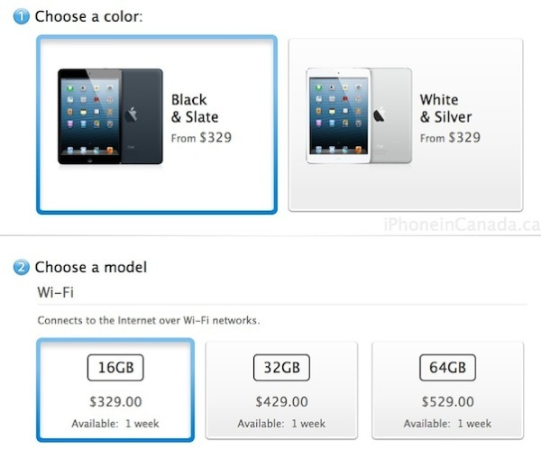 ipad mini shipping times