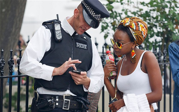 Policeman using sm 2501813b