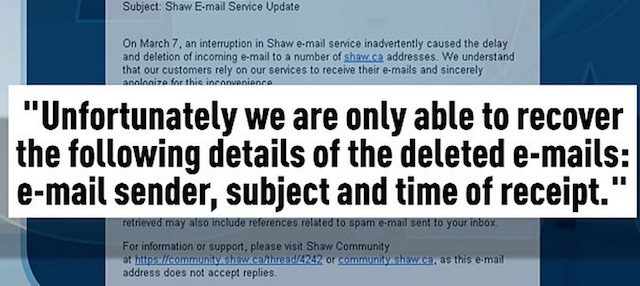 shaw email outage