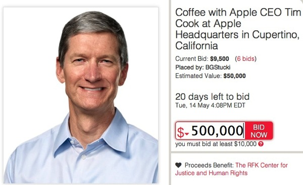 Charitybuzz tim cook