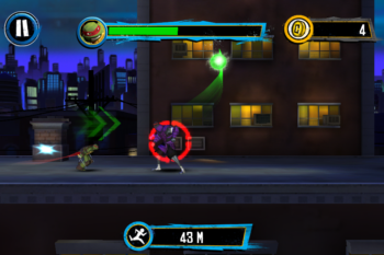 You need to collect green energy orbs to keep running, and attack enemies to earn coins