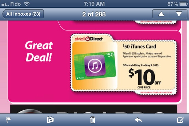 safeway itunes card sale