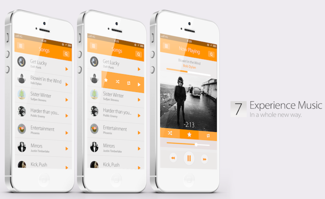 Music ios7 concept design
