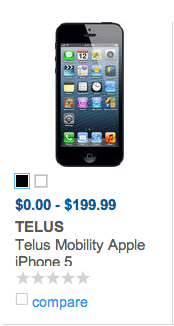 telus $0 iphone 5