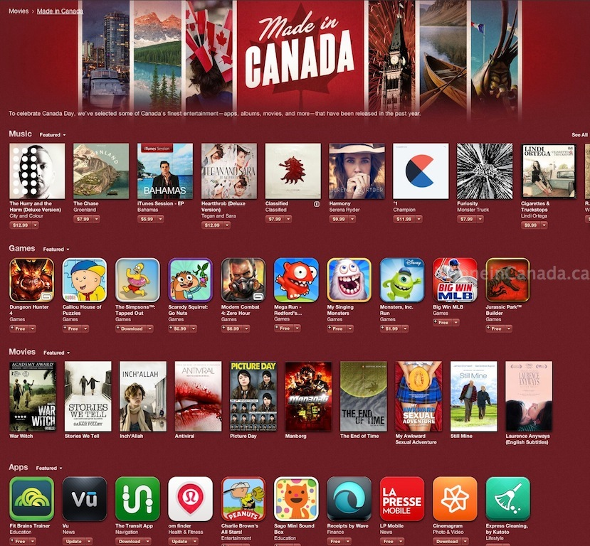 made in canada itunes section