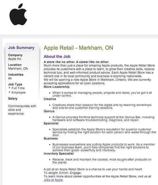 apple store coming to markham  confirmed by job postings