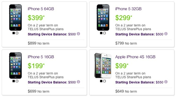 TELUS Launches 2-Year Term iPhone 5 Prices: $199, $299 and $399 [u]