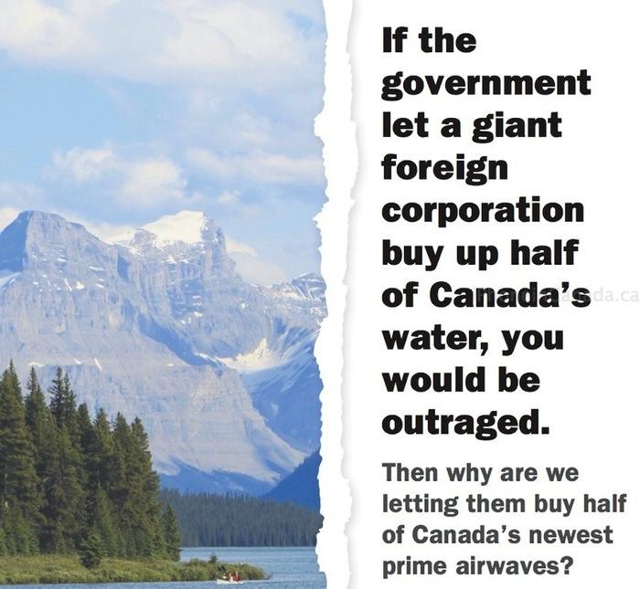 Big 3 Ad: Verizon Spectrum Bid Same as Selling Half of Canada's Water [PIC]