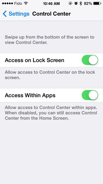 control center within apps