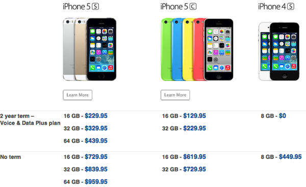 how much is a iphone 5c bell iphone 5s iphone 5c pricing revealed for 2 year 18505