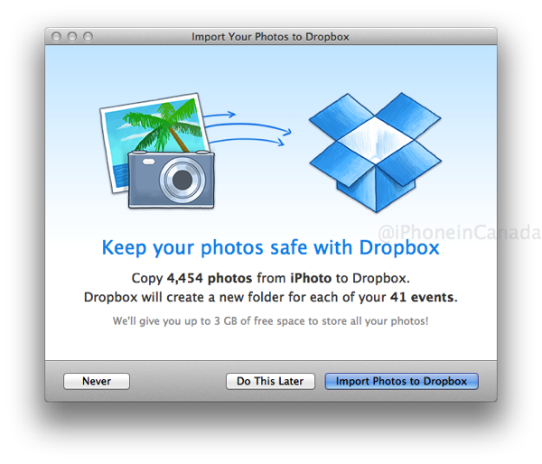 Dropbox 2 4 for Mac Adds iPhoto Library Import with 3GB Free