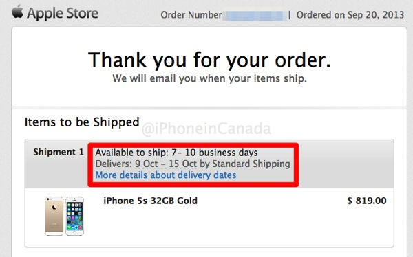 Gold iphone 5s shipping 20th