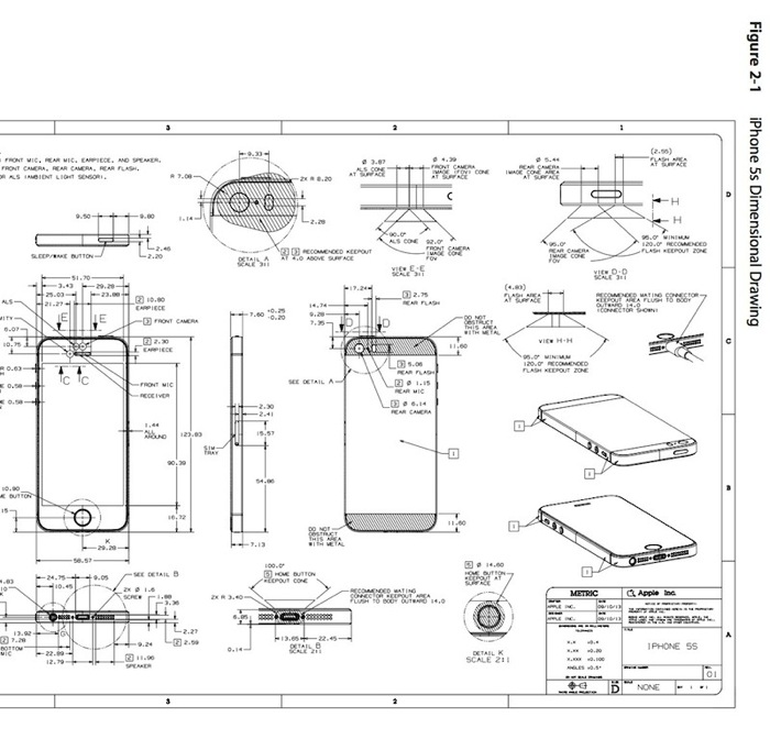 Apple Posts iPhone 5s, iPhone 5c Design Schematics for Case Makers ...