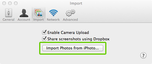 Preferences import iphoto