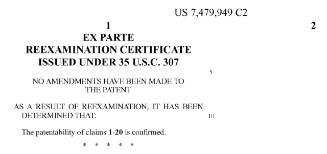 Steve Jobs patent reexamination certificate