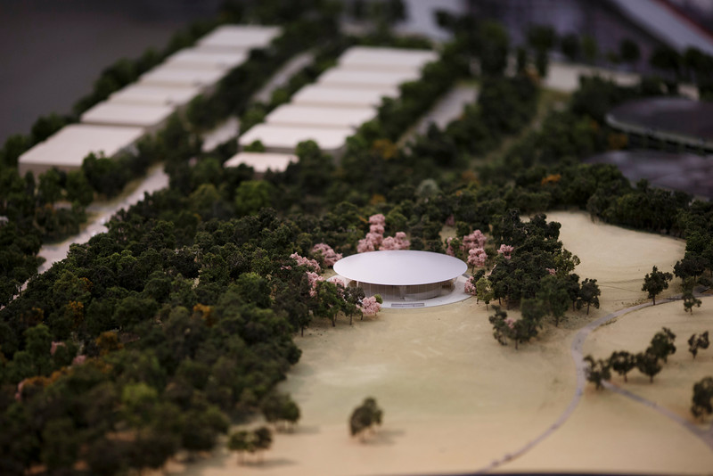 A rendering of Apple's proposed new campus includes a theater for meetings and presentations.
