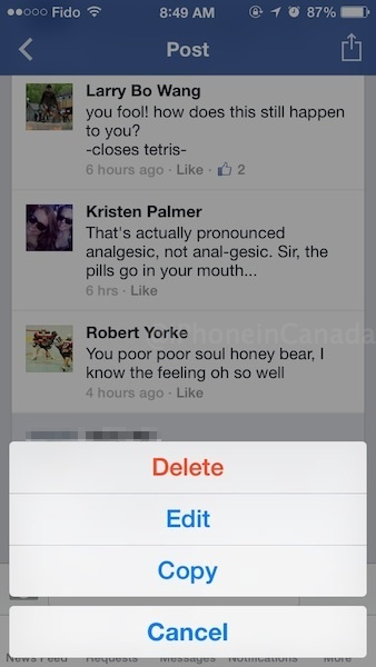 How to Edit/Delete Facebook iOS Posts or Comments on iPhone