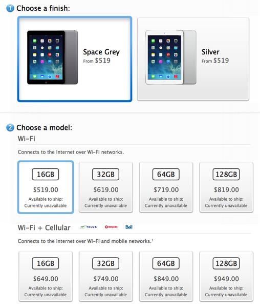 New Ipad Air Retina Ipad Mini Prices Cost 20 More In Canada