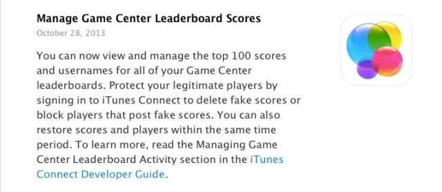 itunes connect game center
