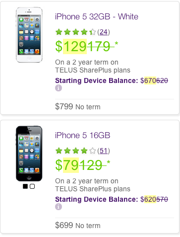 Telus iphone 5 price cut