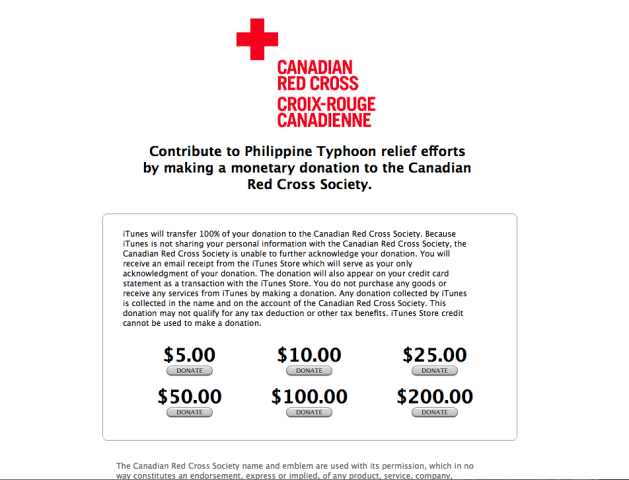 Apple red cross donation page