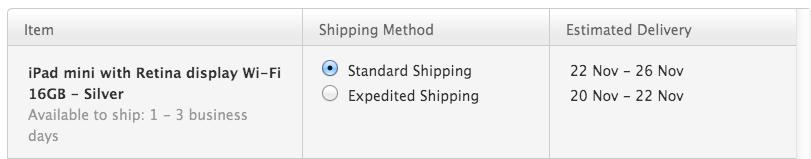 ipad retina mini shipping date