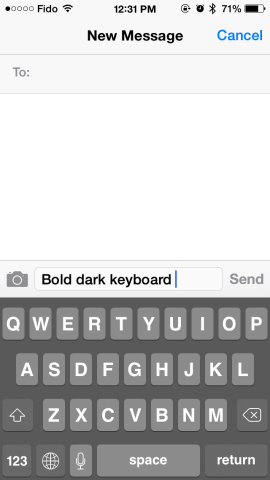 bold dark keyboard ios 7.1 beta