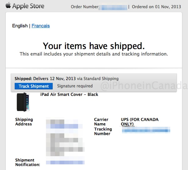 Ipad air smart cover shipped