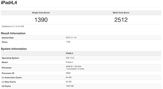 Retina iPad Mini Benchmarks Reveal 1.29GHz Processor, Same Speed As iPhone 5S