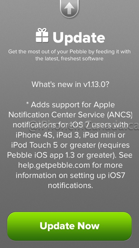 pebble ios 7 update