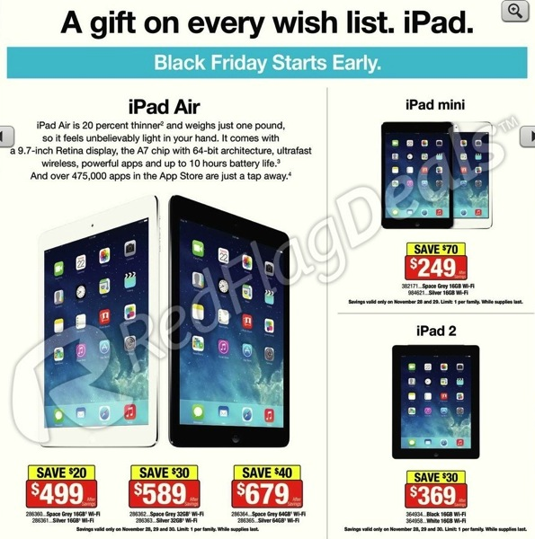 Staples Black Friday Sale: 16GB iPad mini for $249 Plus Other Apple Deals