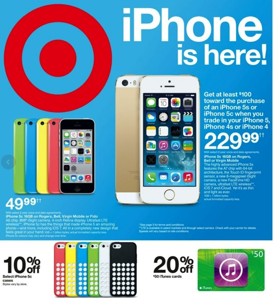target iphone sale target canada 49 99 iphone 5c on contract 50 itunes 7764