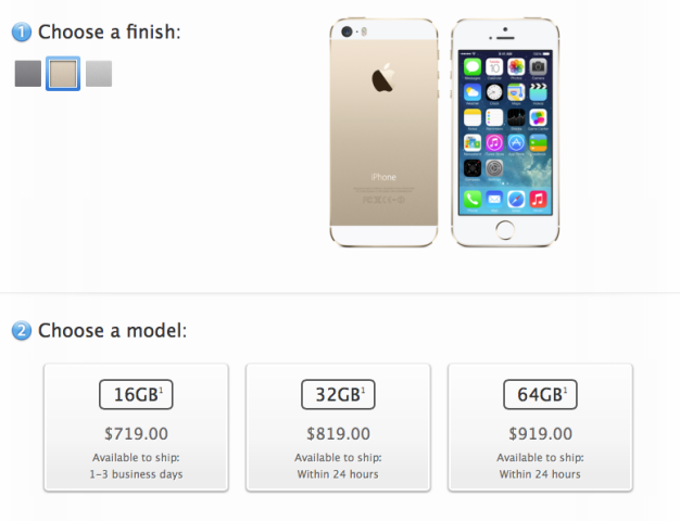 iPhone 5s shipping